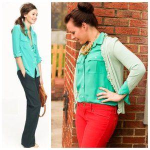 J. Crew Silk Blouse Shirt Blythe Button Down